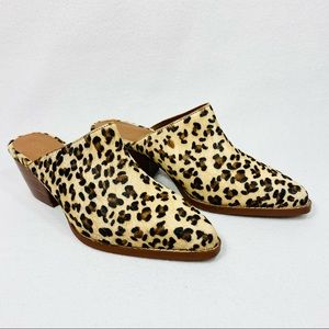 Coconuts by Matisse Camelot Leather & Fur Leopard Print Mules - 7M - New